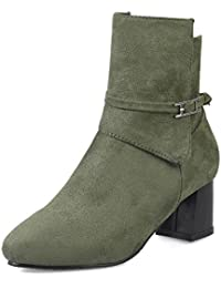 TAOFFEN Damen Casual Block Med Heels Booties Schuhe Zipper Knoechel Stiefel