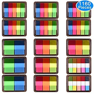 AUSTOR 1160 Pieces Page Marker Tabs Pop-up Index Tabs Neon Flag Sticky Notes, 15 Sets 4 Sizes