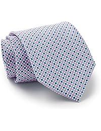 Savile Row Men's Pink White Blue Daisy Print Silk Tie