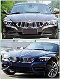 Barrettes colorées décoratives à clipser pour calandre de BMW, motif rayures 3 couleurs