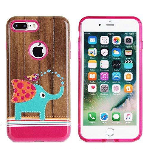 Coque pour iPhone 7,Étui iPhone 7 Case,ETSUE iPhone 7 Coque en Slicone TPU Cover Housse de Téléphone,avec Créatif 2 in 1 Coque, Coloré 3D Case Noir Fond Joli Fleur de pêcher en Relief ave Fond Noir Ul éléphant