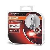 OSRAM NIGHT BREAKER SILVER H4, +100% mehr Helligkeit, Halogen-Scheinwerferlampe, 64193NBS-HCB, 12V Pkw, Duo Box (2 Lampen)