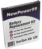 Kit de Remplacement de Batterie pour TomTom Via 135 Série (Via 135, Via 135M) GPS avec Vidéo d'Installation, Outils, et Batterie longue durée.