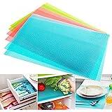 Yellow Weaves™ PVC Multipurpose Mat Pack of 6 (12 X 17 Inches) - For Refrigerator or Fridge, Drawer & Shelf