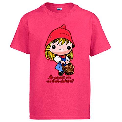 Camiseta Caperucita Roja me pareció ver un lindo lobito - Rosa, 5-6 años