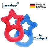 Dentistar® Beißring im 2er-Set - Stern - Zahnungshilfe für Babys ab 3 Monate - Kühlbeißring Baby aus TPE - Made in Germany – Rot, Royal Blau