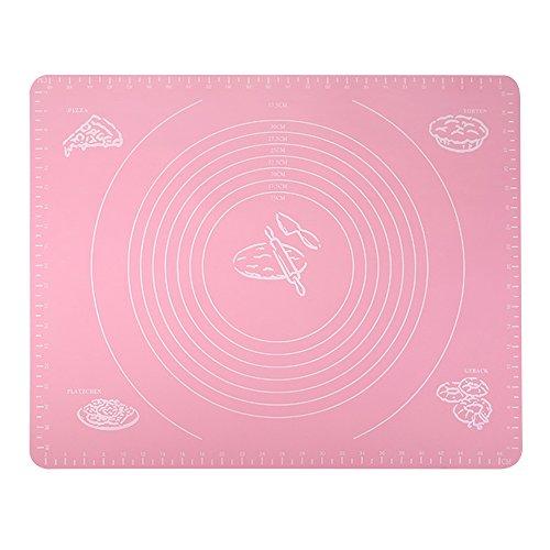 Alxcio Silikon Backmatte Teigmatte Ausrollmatte Antihaft Rutschfeste Backunterlage für Pizza Teig Fondant Backen Küche 50x40 cm - Rosa,Stil 2