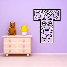 Tigre Alfabeto animal Educativo vinilos decorativos Aula Escolar art pegatinas disponible en 5 tamaños y 25 colores X-Grande Blanco