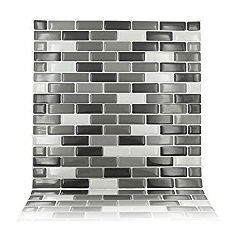 3D Peel and Stick Wall Stickers for Kitchen Bathrooms Tiles Stickers Mosaic Tiles,Pack of 10