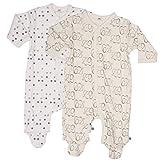 Pippi 2er Pack Baby Unisex Schlafstrampler mit Aufdruck, Langarm mit Füßen, Alter 1-2 Monate, Größe: 56, Farbe: Weiß, 3821