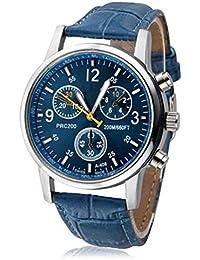 Herren Uhren 2018 Neue Luxus Klassische Business Krokodil Kunstleder Analoge Uhren Armbanduhren Männer Blau (Standard, Blau)