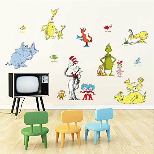 Decalmile Pegatinas de Pared Dr. Seuss Vinilos Decorativos Elefante Oso Adhesivos Pared Habitación...