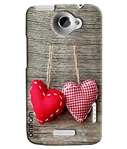 Omnam Two Hearts Hanging On Wood Printed Designer Back Cover Case For HTC One X