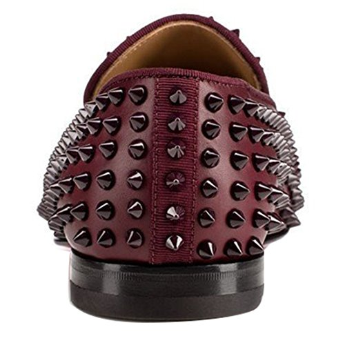 Cuckoo Rivets Hommes Slip On Mocassins Oxford Black Dress Shoes Bourgogne