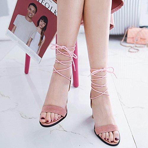 Oasap Women's Open Toe Lace up Block Heels Sandals Green