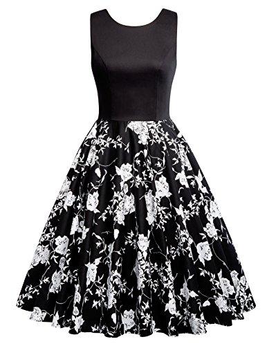 50s dress rockabilly kleid partykleid cocktailkleider knielang petticoat kleid schwarz L CL0463-4 (Schwarz-abschlussball-kleider Lange Unter $50)