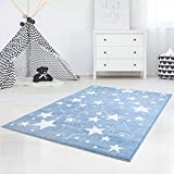 carpet city Kinderteppich Flachflor Hochwertig Bueno mit Konturenschnitt, Glanzgarn mit Sternen-Muster, Sterne in Blau, Größe 80x150 cm