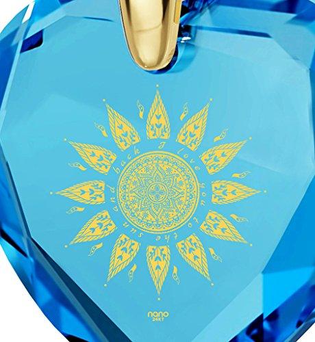 Pendentif Coeur - Bijoux Romantique Plaqué Or avec I Love You to The Sun and Back inscrit à l'Or 24ct sur un Zircon Cubique en Forme de Coeur, Chaine en Or Laminé de 45cm - Bijoux Nano Bleu Lagon