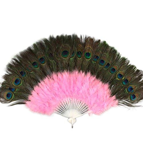 Showgirl - Abanico de mano plegable de plumas grandes y elegante, estilo vintage, estilo chino y japonés, para boda, baile, fiesta, regalo rosa