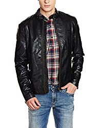 Flying Machine Mens Polyester Jacket (8907259210551_FMJK0458_Large_Black)