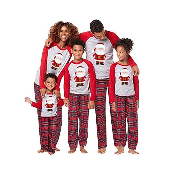 URMOSTIN Pijamas de Navidad Dos Piezas Pijamas Familiares, Conjunto de Ropa de Dormir de Algodón Merry Christmas Manga… 3