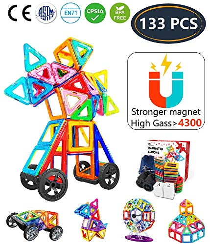 Jasonwell Magnetische Bausteine 133 Teile Magnete Bauklötze Konstruktion Blöcke Bausatz Kreative Spielzeuge Kinder Kleinkind Mädchen Jungen Riesenrad Aufbewahrungstasche Tolles