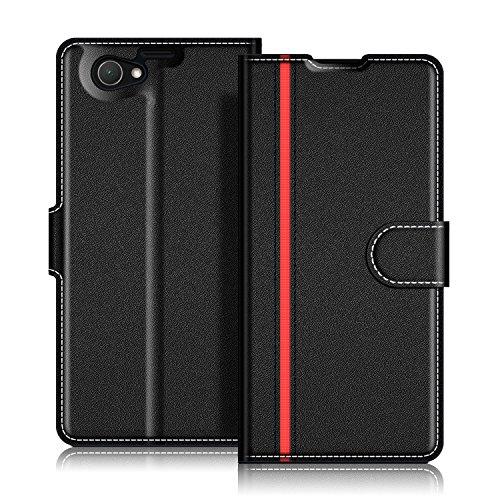 Coodio Sony Xperia Z1 Compact Hülle Leder Lederhülle Ledertasche Wallet Handyhülle Tasche Schutzhülle mit Magnetverschluss / Kartenfächer für Sony Xperia Z1 Compact, Schwarz/Rot