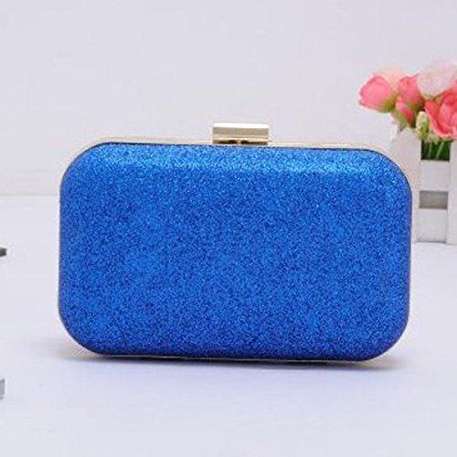 Frauen-Kupplungs-Geldbeutel-Hard Case Glänzende Abendtasche Glitter Mit Kettenbügel Blue