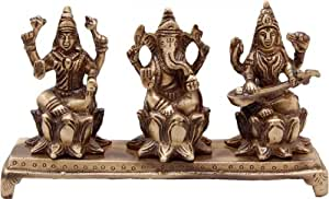 Two Moustaches Brass Ganesh Laxmi Saraswati on chowki Idol