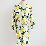 limone floreale donne kimono tunica (damigella trims) - damigella kimono vestaglia damigella regalo nuziale regalo nuziale