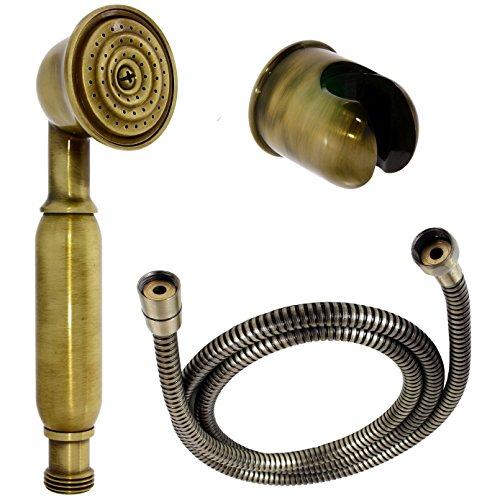 Nostalgie Retro Handbrause / Brause / Brausekopf / Duschkopf mit Brauseschlauch und Brausehalterung aus Messing mit Alt-Messing Oberfläche