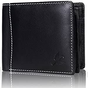 Hornbull Men's Themes Geuine Leather RFID Wallet (Black)