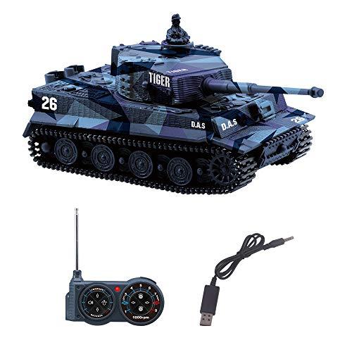 YouCute Mini RC Tank con Cable Cargador USB Control Remoto Tanque Panzer 1:72 German Tiger I con Sonido