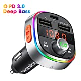 Bluetooth 5.0 Car Transmitter, 【Deep Bass】VicTsing PD3.0 FM Transmitter with 7 Color LED