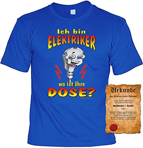 Witziges Spaß-Shirt + gratis Fun-Urkunde: Ich bin Elektriker-wo ist Ihre Dose? Royal-Blau
