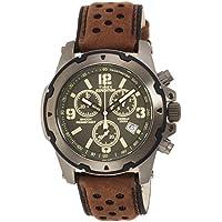 Timex TW4B01600 Orologio Cronografo da Polso al Quarzo, Analogico, Uomo, Pelle, Verde/Marrone