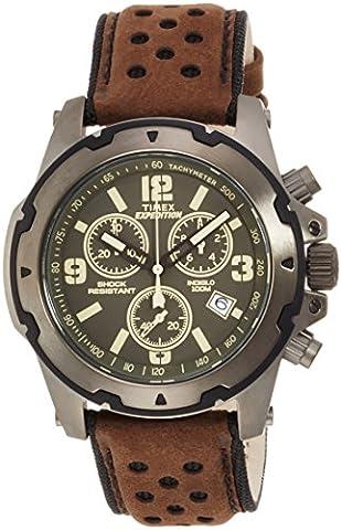 Timex - Homme - TW4B0160- Montre Homme - Quartz - Analogique - Eclairage - Chronomètre - Marron - vart - Cuir