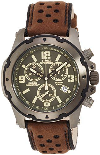 Timex Men's TW4B01600 Quartz Watch with Green Dial Chronograph Display and Brown Leather Strap