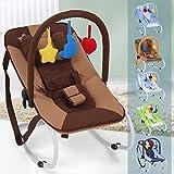 Infantastic Babywippe mit 3-Punkt-Sicherheitssystem mit stabilem Metallrohr-Gestell,  inkl. Spielbogen, 3 Spielzeuge, braun-Schaukelpferd