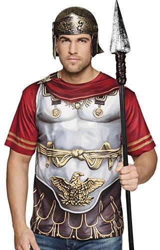 Halloweenia - Herren Römer Kostüm T-shirt Römer Gladiator Print Helm, L, ()