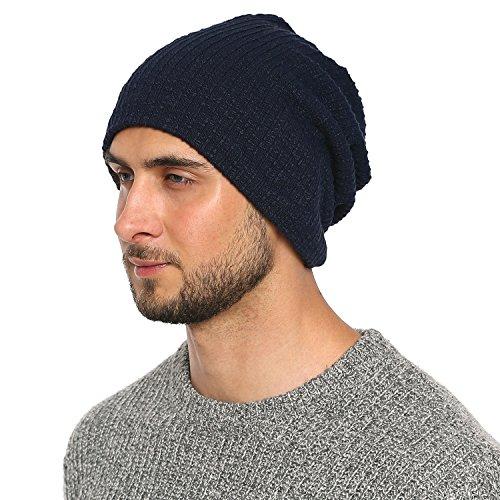 Imagen de dondon hombre jersey gorro para todo el año clásico flexible gorro transpirable suave y adaptable a cualquier talla de cabeza  azul oscuro