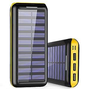 Caricabatterie Portatile Power Bank PLOCHY 24000mAh Batteria Esterna 2 Porte di Entrata(Lighting & Micro 2.1A USB) con 3 Porte USB(3 * 2.4A) Caricabatterie Solare per iPhone, iPad, Samsung, Huawei, Nexus, HTC e altro smartphone, tablets(Giallo)