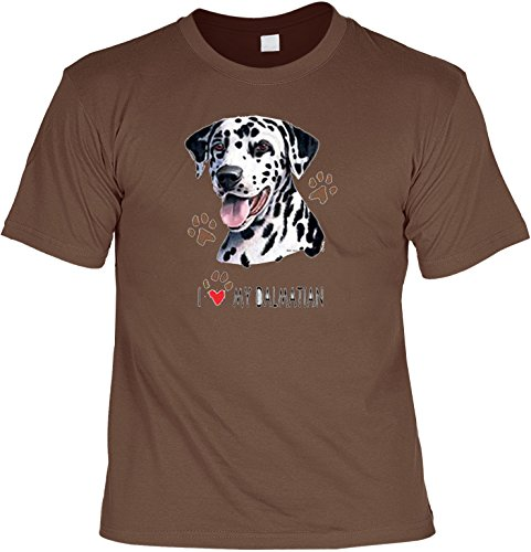 Hunde Shirt/ T-Shirt mit Dog Aufdruck: I love my Dalmatian - tolles Tier-Motiv für Hundefreunde Hellbraun