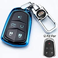 JIYUE Key Fob Cover for Cadillac, Key Fob Case for 2015-2019 Cadillac Escalade CTS SRX XT5 ATS STS CT6 5-Buttons Premium Soft TPU 360 Degree Full Protection Blue