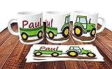 Personalisierte Kindertasse Kunststofftasse Traktor mit Name - Namenstasse Trecker Schlepper -Kindergartentasse für Kleine Landwirte und Treckerfahrer