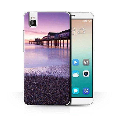 Stuff4® Hülle/Case für Huawei Honor 7i/ShotX/Pier Muster/Englische Strand Kollektion