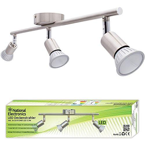 Lampadario plafoniera a faretti led orientabili gu10 220v da soffitto - inclusi 3 spot a luce calda 2700k 3,5w 320lumen - max 50w (watt) per lampadina