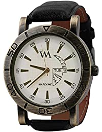 Watch Me Branded White Analog Black Leather Strap Analogue Quartz Boy's And Men's Watches WMAL-031-Womtbg