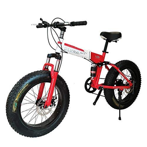 WZB Bicicletta da Montagna Pieghevole, 20 Pollici, velocità 21/24/27, Cambio Shimano con gomme da 4,0', Biciclette da Neve, Rosso, 24 velocità