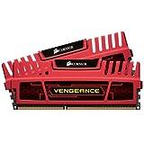 Corsair CMZ16GX3M2A1600C10R Vengeance 16GB (2x8GB) DDR3 1600 Mhz CL10 Mémoire pour ordinateur de bureau performante avec profil XMP. Rouge